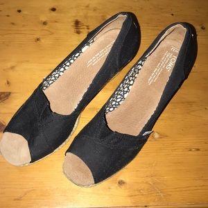 Tom's Ash Wedge Shoes Black 12 W